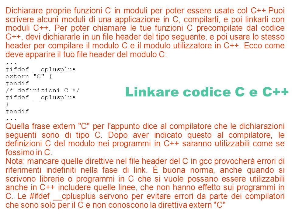 Dichiarare proprie funzioni C in moduli per poter essere usate col C++.Puoi scrivere alcuni moduli di una applicazione in C, compilarli, e poi linkarl