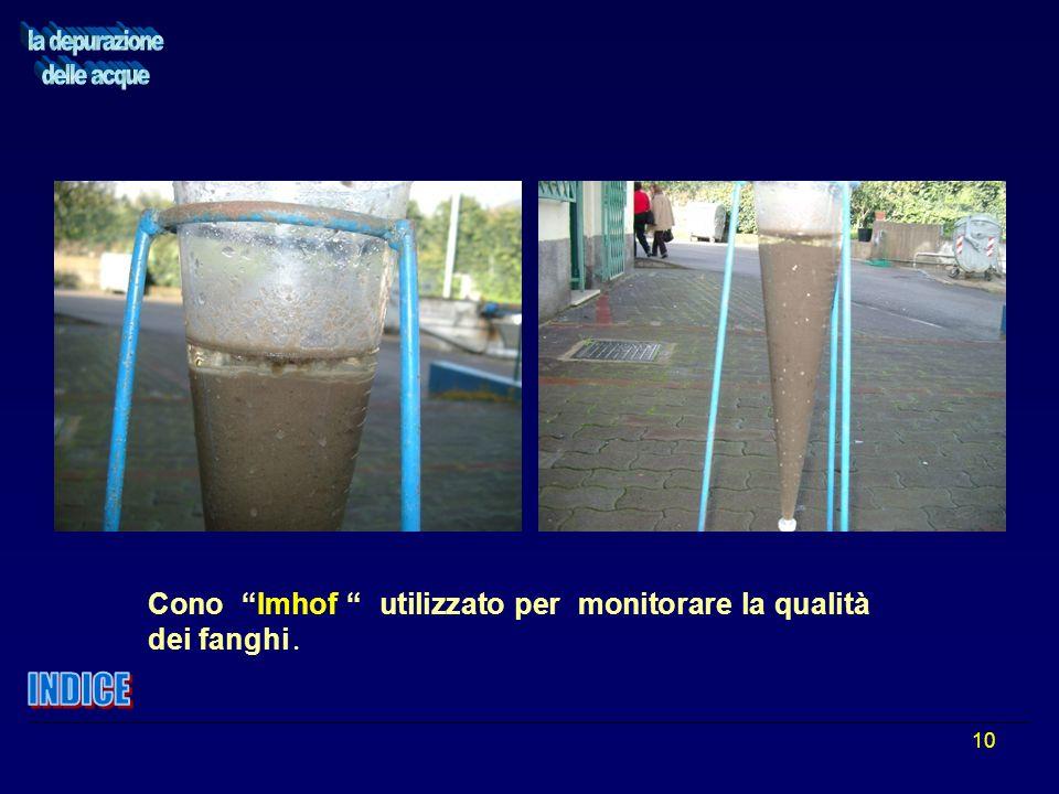 10 Cono Imhof utilizzato per monitorare la qualità dei fanghi.