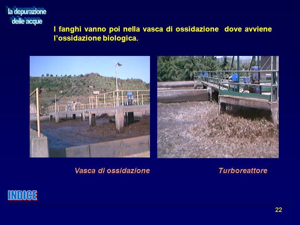22 Vasca di ossidazione Turboreattore I fanghi vanno poi nella vasca di ossidazione dove avviene lossidazione biologica.