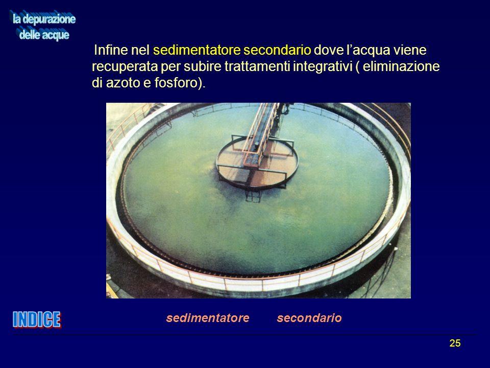 25 Infine nel sedimentatore secondario dove lacqua viene recuperata per subire trattamenti integrativi ( eliminazione di azoto e fosforo). sedimentato
