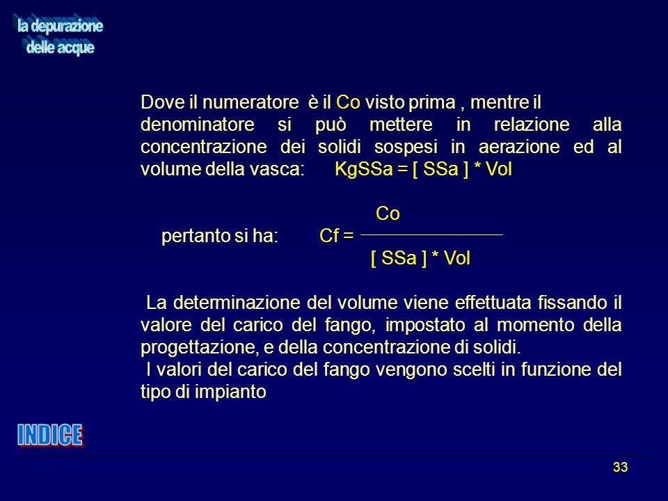 33 Dove il numeratore è il Co visto prima, mentre il denominatore si può mettere in relazione alla concentrazione dei solidi sospesi in aerazione ed a