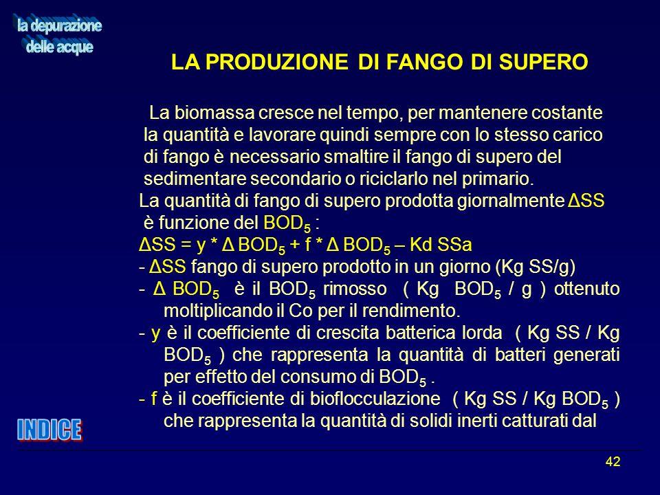 42 LA PRODUZIONE DI FANGO DI SUPERO La biomassa cresce nel tempo, per mantenere costante la quantità e lavorare quindi sempre con lo stesso carico di