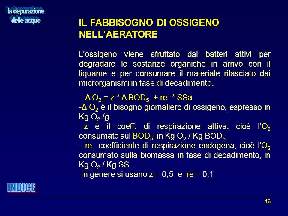 46 IL FABBISOGNO DI OSSIGENO NELLAERATORE Lossigeno viene sfruttato dai batteri attivi per degradare le sostanze organiche in arrivo con il liquame e