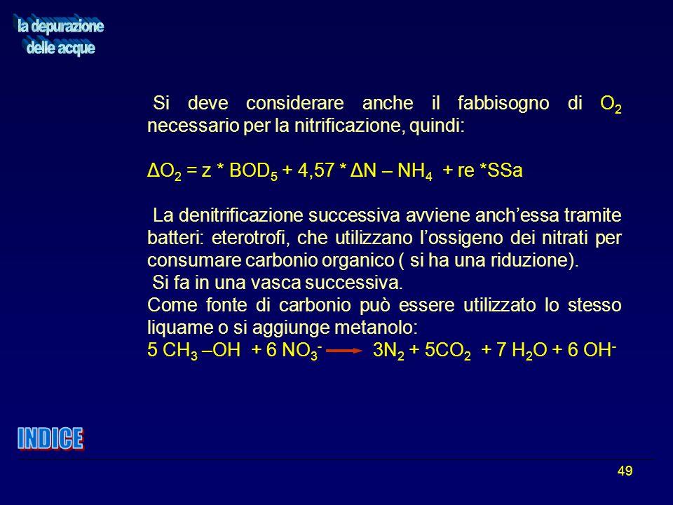 49 Si deve considerare anche il fabbisogno di O 2 necessario per la nitrificazione, quindi: ΔO 2 = z * BOD 5 + 4,57 * ΔN – NH 4 + re *SSa La denitrifi