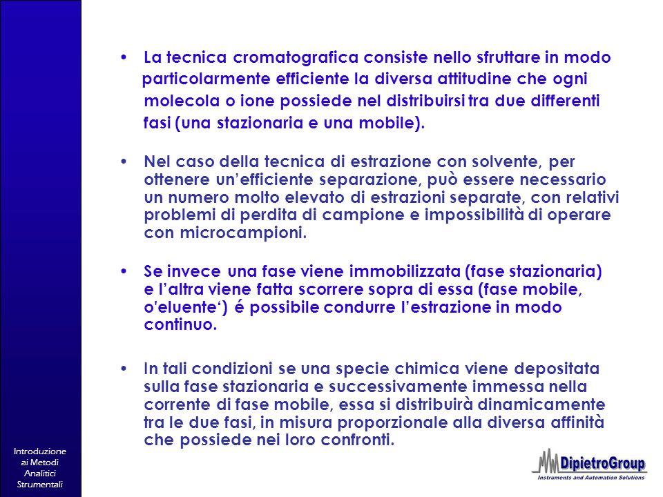 Introduzione ai Metodi Analitici Strumentali La tecnica cromatografica consiste nello sfruttare in modo particolarmente efficiente la diversa attitudi