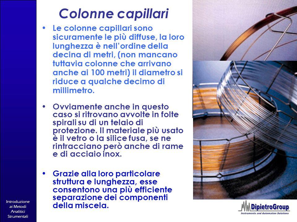 Introduzione ai Metodi Analitici Strumentali Colonne capillari Le colonne capillari sono sicuramente le più diffuse, la loro lunghezza è nellordine de