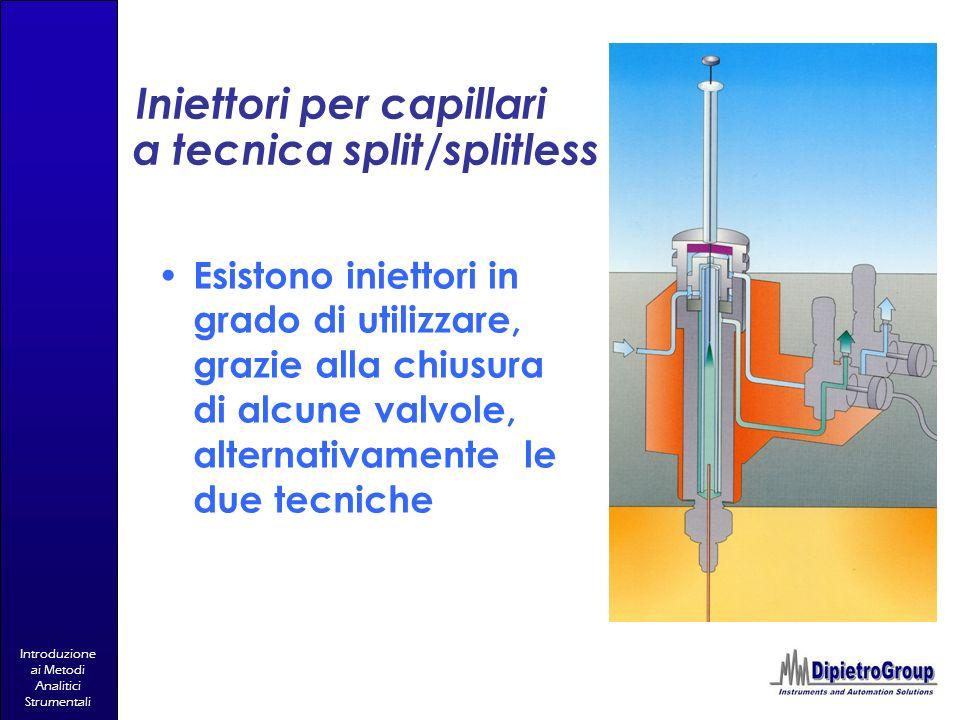 Introduzione ai Metodi Analitici Strumentali Iniettori per capillari a tecnica split/splitless Esistono iniettori in grado di utilizzare, grazie alla