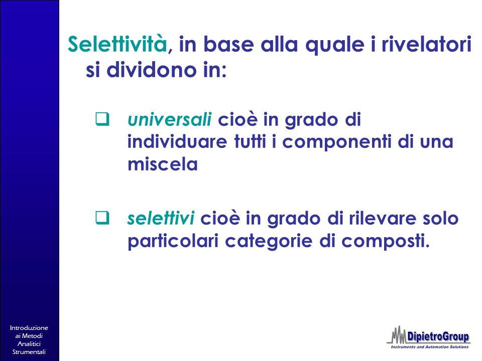 Introduzione ai Metodi Analitici Strumentali universali cioè in grado di individuare tutti i componenti di una miscela selettivi cioè in grado di rile