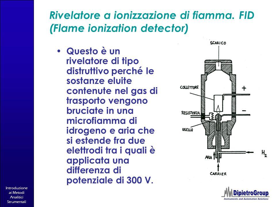 Introduzione ai Metodi Analitici Strumentali Rivelatore a ionizzazione di fiamma. FID (Flame ionization detector) Questo è un rivelatore di tipo distr