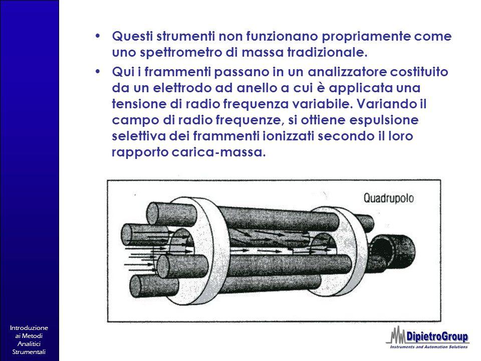 Introduzione ai Metodi Analitici Strumentali Questi strumenti non funzionano propriamente come uno spettrometro di massa tradizionale. Qui i frammenti