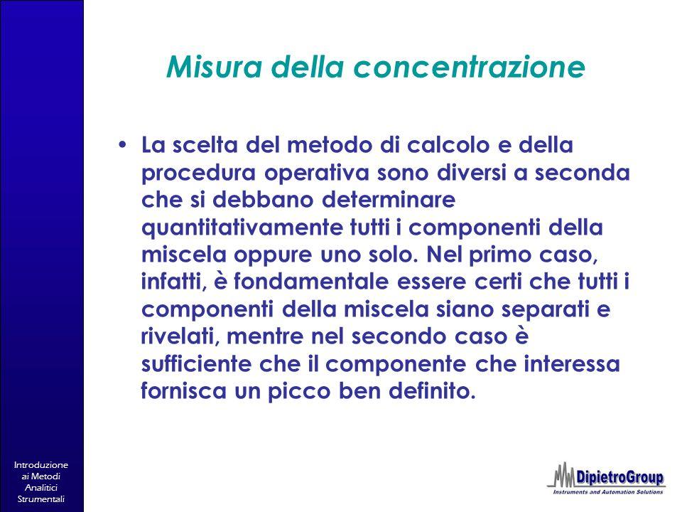 Introduzione ai Metodi Analitici Strumentali Misura della concentrazione La scelta del metodo di calcolo e della procedura operativa sono diversi a se