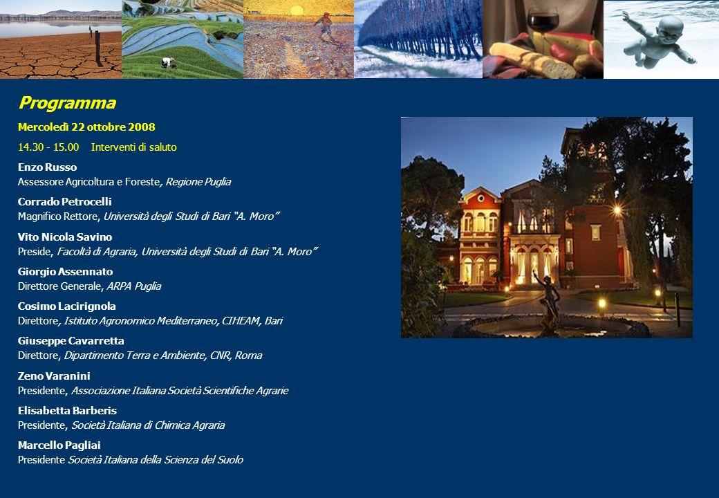 Mercoledì 22 ottobre 2008 14.30 - 15.00 Interventi di saluto Enzo Russo Assessore Agricoltura e Foreste, Regione Puglia Corrado Petrocelli Magnifico R