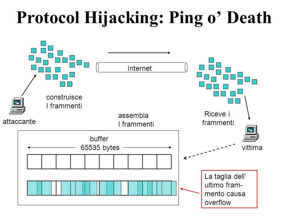Protocol Hijacking: Ping o Death attaccante construisce I frammenti vittima Riceve i frammenti assembla I frammenti Internet buffer 65535 bytes La taglia dell ultimo fram- mento causa overflow