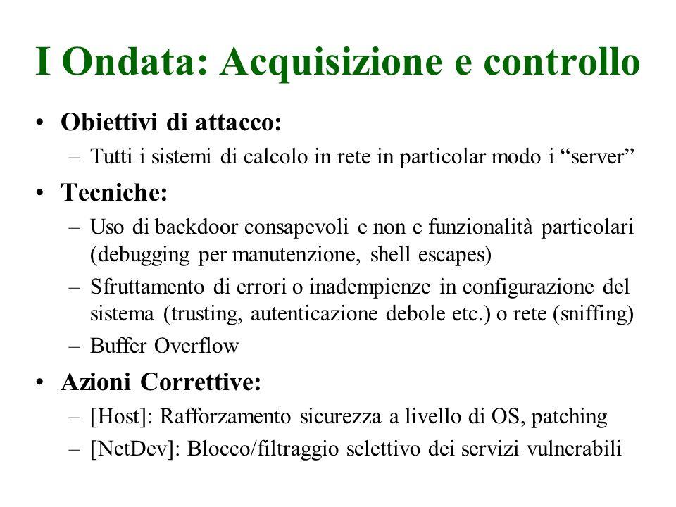 I Ondata: Acquisizione e controllo Obiettivi di attacco: –Tutti i sistemi di calcolo in rete in particolar modo i server Tecniche: –Uso di backdoor co