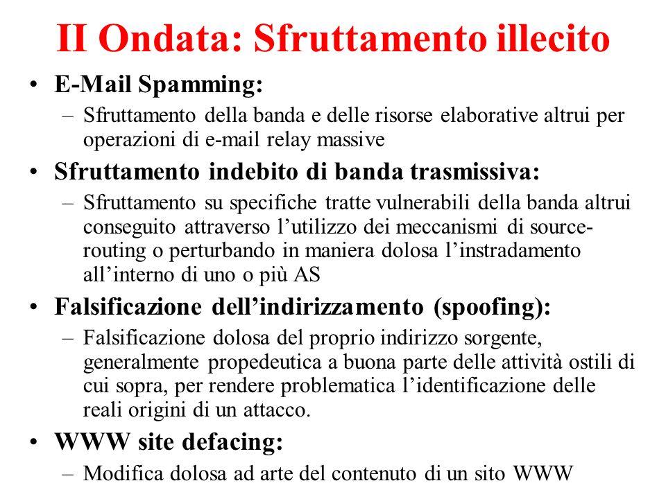 II Ondata: Sfruttamento illecito E-Mail Spamming: –Sfruttamento della banda e delle risorse elaborative altrui per operazioni di e-mail relay massive