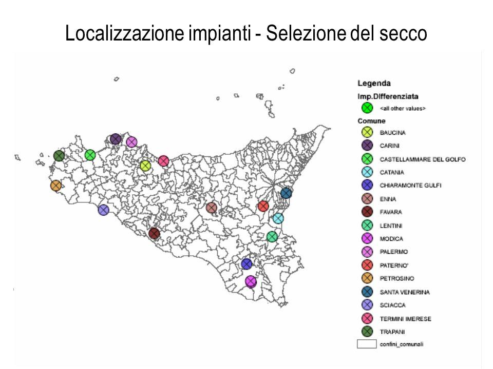 Localizzazione impianti - Selezione del secco