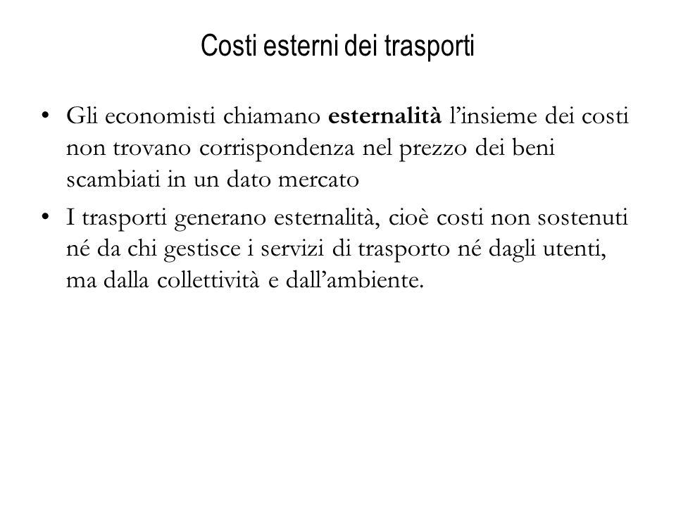 Costi esterni dei trasporti Gli economisti chiamano esternalità linsieme dei costi non trovano corrispondenza nel prezzo dei beni scambiati in un dato mercato I trasporti generano esternalità, cioè costi non sostenuti né da chi gestisce i servizi di trasporto né dagli utenti, ma dalla collettività e dallambiente.
