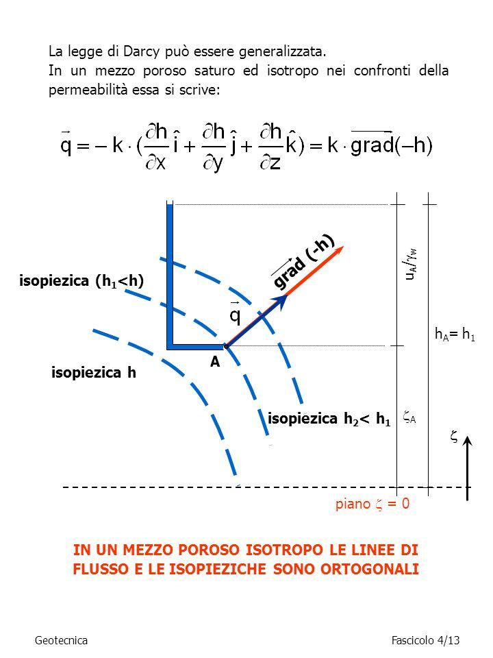 La legge di Darcy può essere generalizzata. In un mezzo poroso saturo ed isotropo nei confronti della permeabilità essa si scrive: isopiezica (h 1 <h)