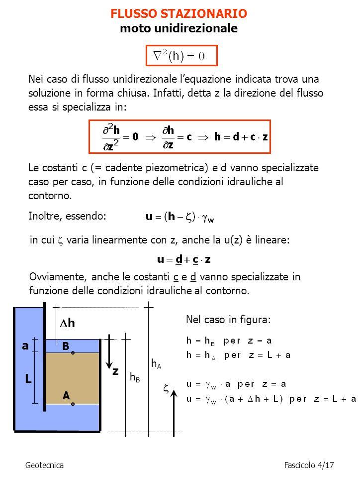 Le costanti c (= cadente piezometrica) e d vanno specializzate caso per caso, in funzione delle condizioni idrauliche al contorno. Inoltre, essendo: F