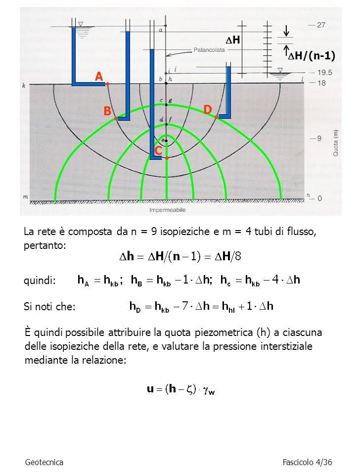La rete è composta da n = 9 isopieziche e m = 4 tubi di flusso, pertanto: quindi: È quindi possibile attribuire la quota piezometrica (h) a ciascuna d