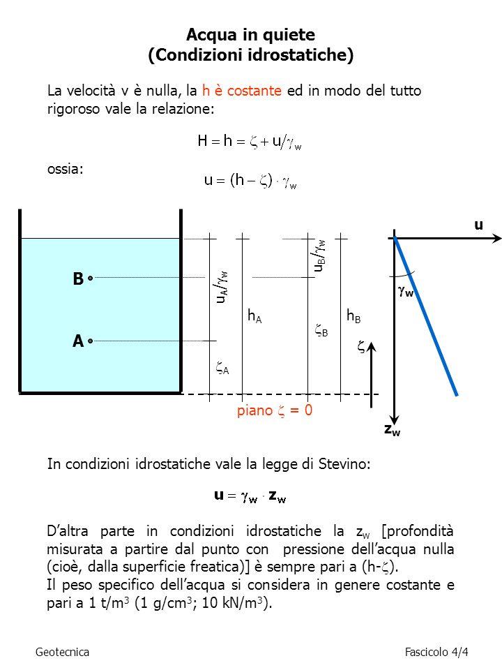 Acqua in quiete (Condizioni idrostatiche) In condizioni idrostatiche vale la legge di Stevino: La velocità v è nulla, la h è costante ed in modo del t