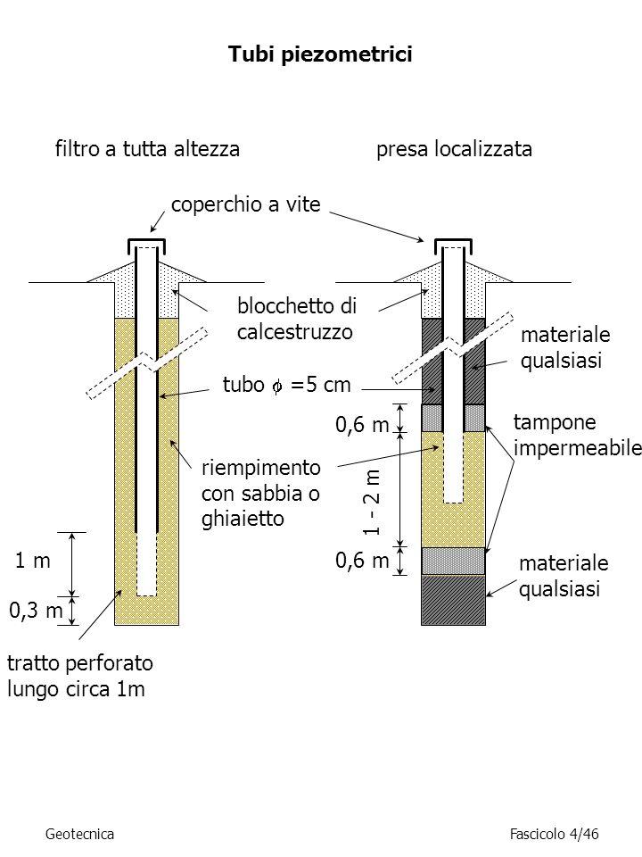 filtro a tutta altezzapresa localizzata Tubi piezometrici GeotecnicaFascicolo 4/46 coperchio a vite blocchetto di calcestruzzo tubo =5 cm tratto perfo
