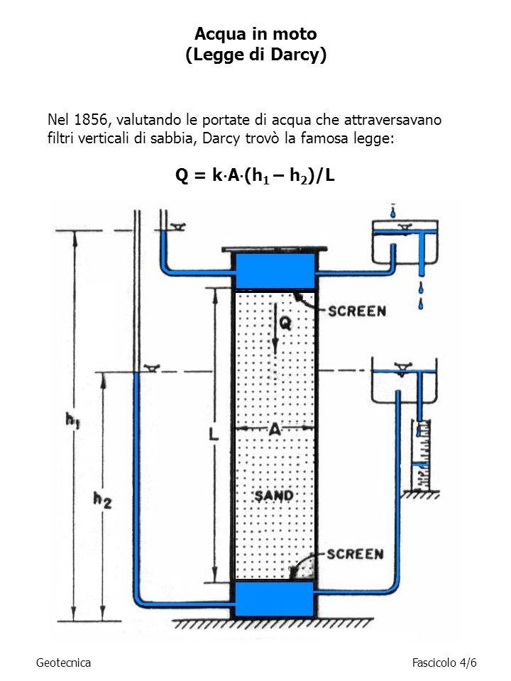 La legge che regola il flusso dellacqua (o altro liquido) nei terreni può essere riferita al semplice schema in figura: k=permeabilità [L T -1 ]; Q=portata [L 3 T -1 ]; h=salto energetico [L]; L=spessore del campione (percorso di filtrazione) [L]; A=sezione trasversale del campione [L 2 ]; j= h/L = cadente piezometrica [-]; q=velocità di filtrazione [L T -1 ].
