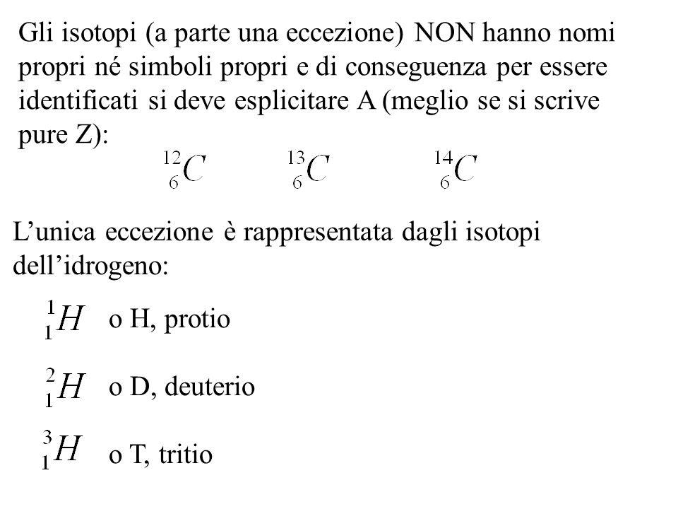 Gli isotopi (a parte una eccezione) NON hanno nomi propri né simboli propri e di conseguenza per essere identificati si deve esplicitare A (meglio se