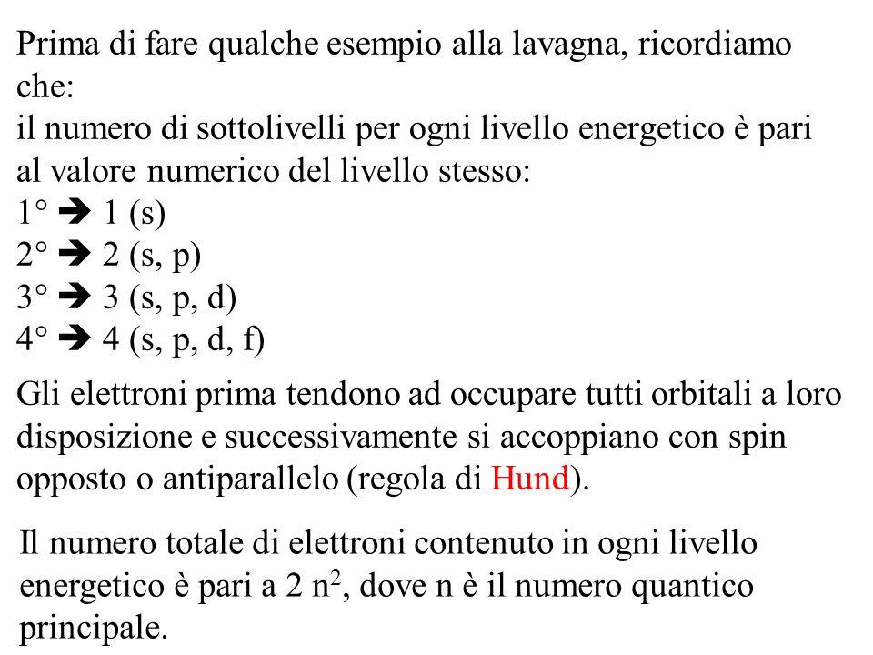 Prima di fare qualche esempio alla lavagna, ricordiamo che: il numero di sottolivelli per ogni livello energetico è pari al valore numerico del livell