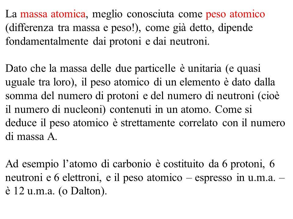La massa atomica, meglio conosciuta come peso atomico (differenza tra massa e peso!), come già detto, dipende fondamentalmente dai protoni e dai neutr