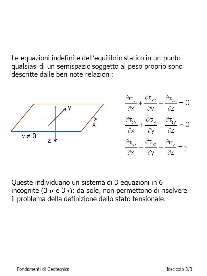 Le equazioni indefinite dellequilibrio statico in un punto qualsiasi di un semispazio soggetto al peso proprio sono descritte dalle ben note relazioni