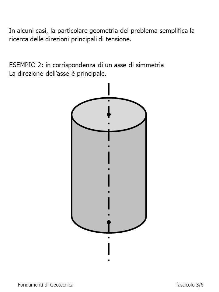 In alcuni casi, la particolare geometria del problema semplifica la ricerca delle direzioni principali di tensione. ESEMPIO 2: in corrispondenza di un