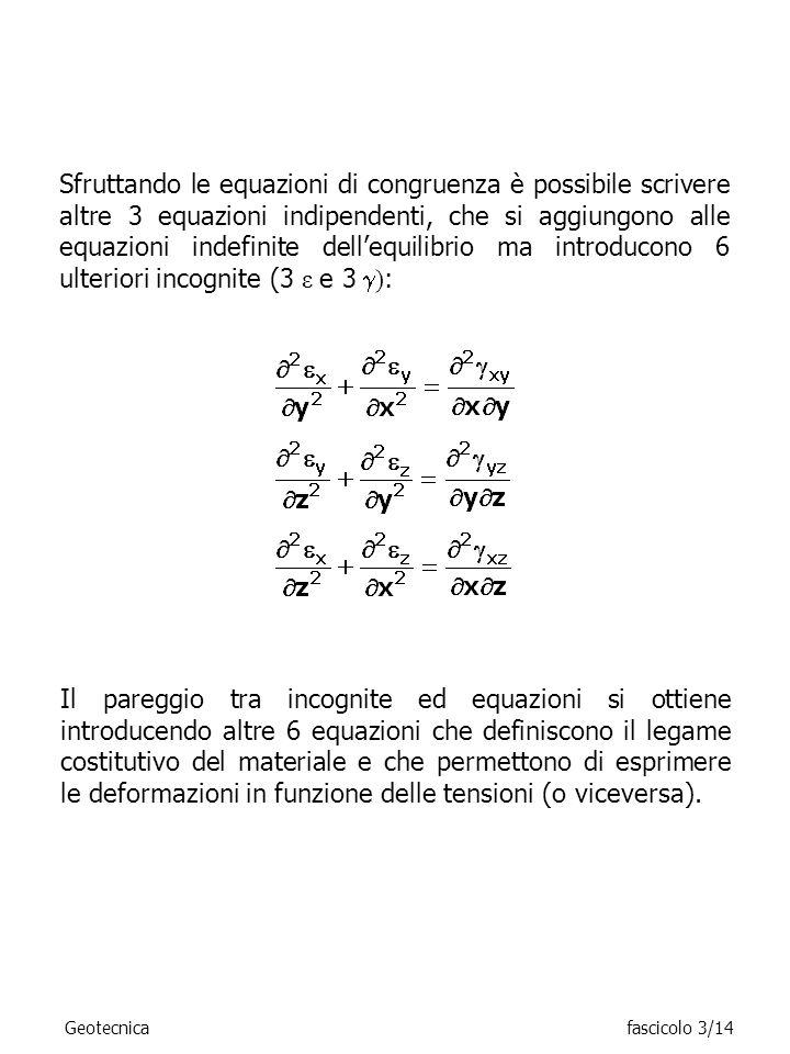 Sfruttando le equazioni di congruenza è possibile scrivere altre 3 equazioni indipendenti, che si aggiungono alle equazioni indefinite dellequilibrio