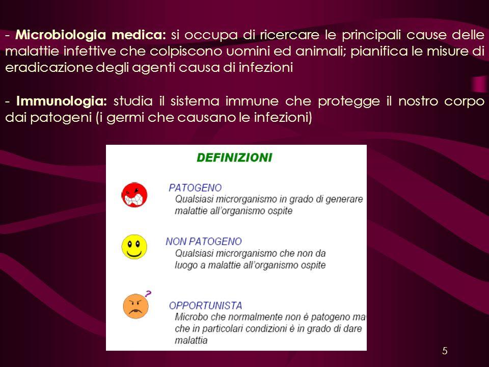 - Microbiologia medica: si occupa di ricercare le principali cause delle malattie infettive che colpiscono uomini ed animali; pianifica le misure di e