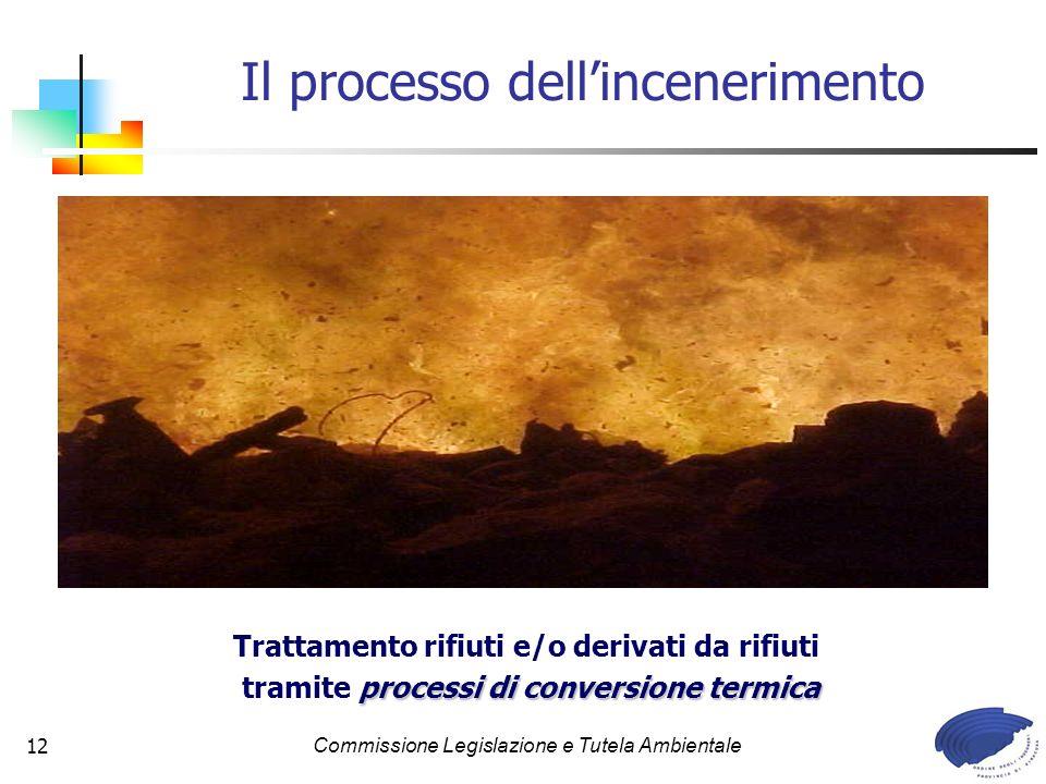 Commissione Legislazione e Tutela Ambientale12 Il processo dellincenerimento Trattamento rifiuti e/o derivati da rifiuti processi di conversione termica tramite processi di conversione termica