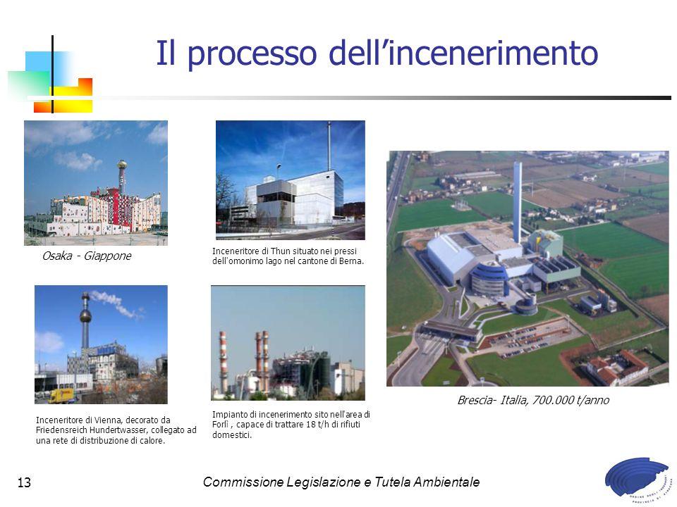 Commissione Legislazione e Tutela Ambientale13 Il processo dellincenerimento Impianto di incenerimento sito nell area di Forlì, capace di trattare 18 t/h di rifiuti domestici.