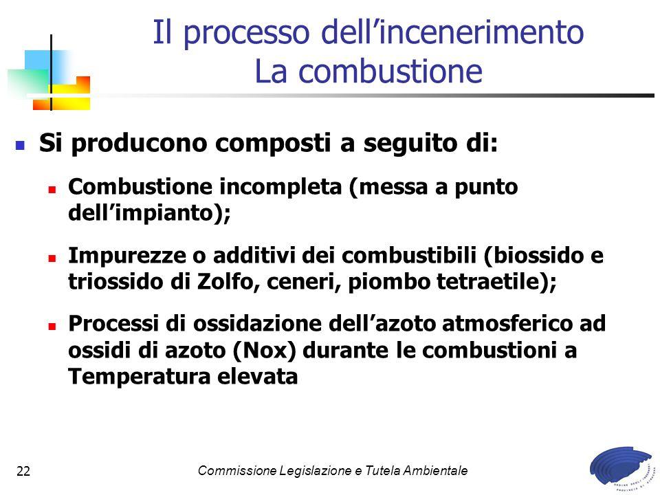 Commissione Legislazione e Tutela Ambientale22 Si producono composti a seguito di: Combustione incompleta (messa a punto dellimpianto); Impurezze o additivi dei combustibili (biossido e triossido di Zolfo, ceneri, piombo tetraetile); Processi di ossidazione dellazoto atmosferico ad ossidi di azoto (Nox) durante le combustioni a Temperatura elevata Il processo dellincenerimento La combustione