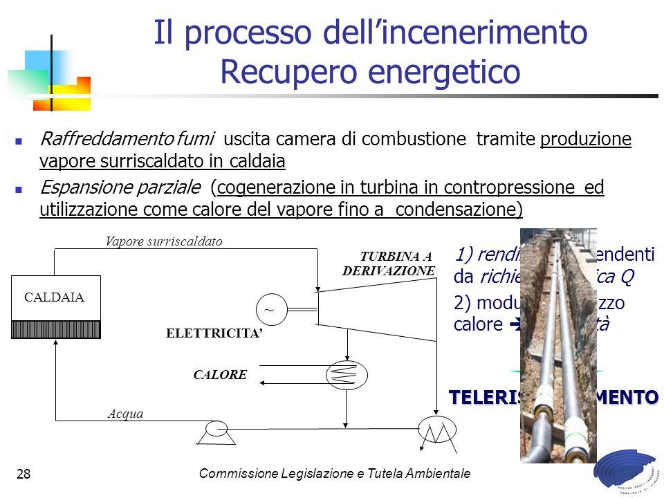 Commissione Legislazione e Tutela Ambientale28 Raffreddamento fumi uscita camera di combustione tramite produzione vapore surriscaldato in caldaia Espansione parziale (cogenerazione in turbina in contropressione ed utilizzazione come calore del vapore fino a condensazione) Il processo dellincenerimento Recupero energetico ~ CALDAIA TURBINA A DERIVAZIONE ELETTRICITA CALORE Q Acqua Vapore surriscaldato 1) rendimenti dipendenti da richiesta termica Q 2) modularità utilizzo calore flessibilità TELERISCALDAMENTO