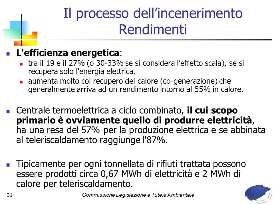 Commissione Legislazione e Tutela Ambientale31 L efficienza energetica: tra il 19 e il 27% (o 30-33% se si considera leffetto scala), se si recupera solo l energia elettrica.