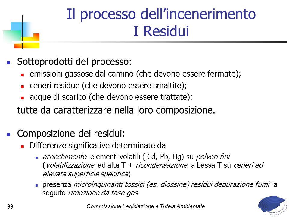 Commissione Legislazione e Tutela Ambientale33 Il processo dellincenerimento I Residui Sottoprodotti del processo: emissioni gassose dal camino (che devono essere fermate); ceneri residue (che devono essere smaltite); acque di scarico (che devono essere trattate); tutte da caratterizzare nella loro composizione.
