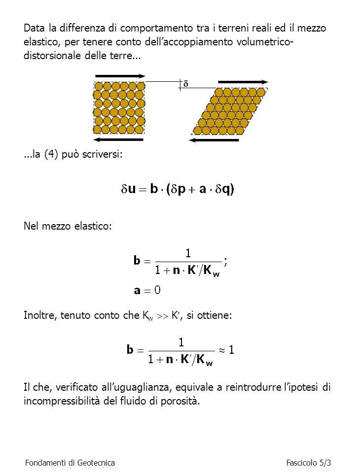 Data la differenza di comportamento tra i terreni reali ed il mezzo elastico, per tenere conto dellaccoppiamento volumetrico- distorsionale delle terr