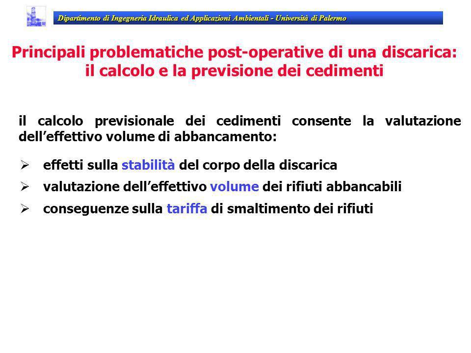 Dipartimento di Ingegneria Idraulica ed Applicazioni Ambientali - Università di Palermo il calcolo previsionale dei cedimenti consente la valutazione