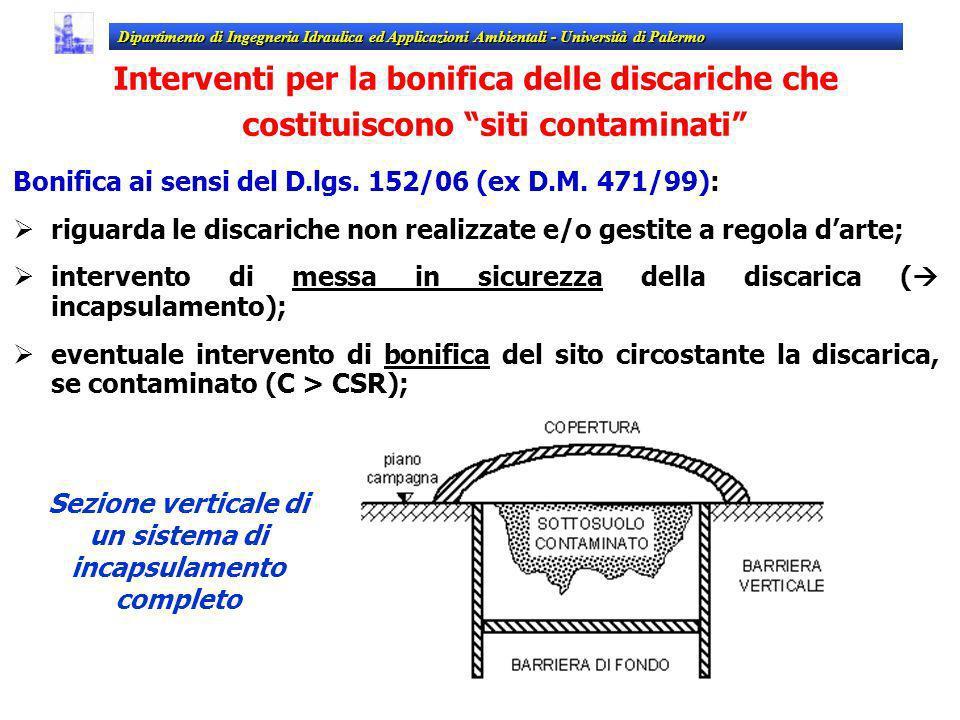 Interventi per la bonifica delle discariche che costituiscono siti contaminati Bonifica ai sensi del D.lgs. 152/06 (ex D.M. 471/99): riguarda le disca