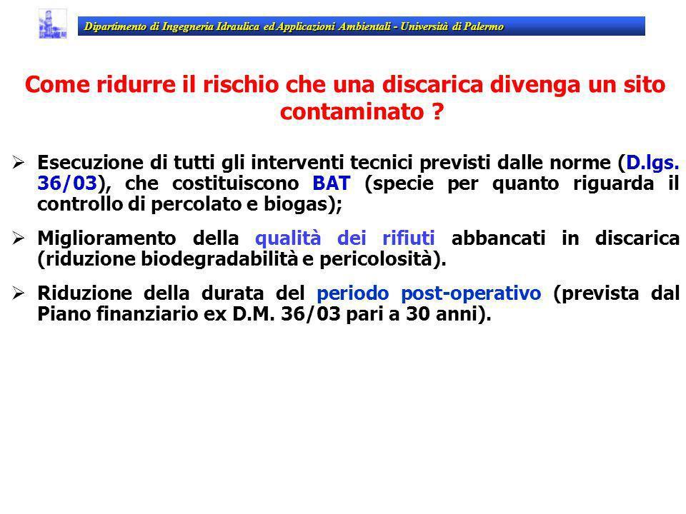 Esecuzione di tutti gli interventi tecnici previsti dalle norme (D.lgs. 36/03), che costituiscono BAT (specie per quanto riguarda il controllo di perc