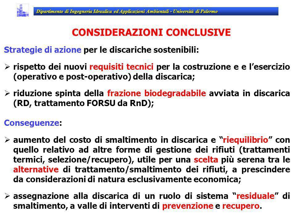 CONSIDERAZIONI CONCLUSIVE Strategie di azione per le discariche sostenibili: rispetto dei nuovi requisiti tecnici per la costruzione e e lesercizio (o