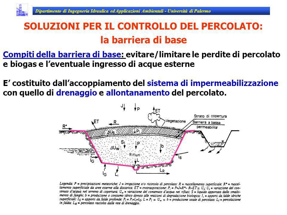 SOLUZIONI PER IL CONTROLLO DEL PERCOLATO: la barriera di base Compiti della barriera di base: evitare/limitare le perdite di percolato e biogas e leve
