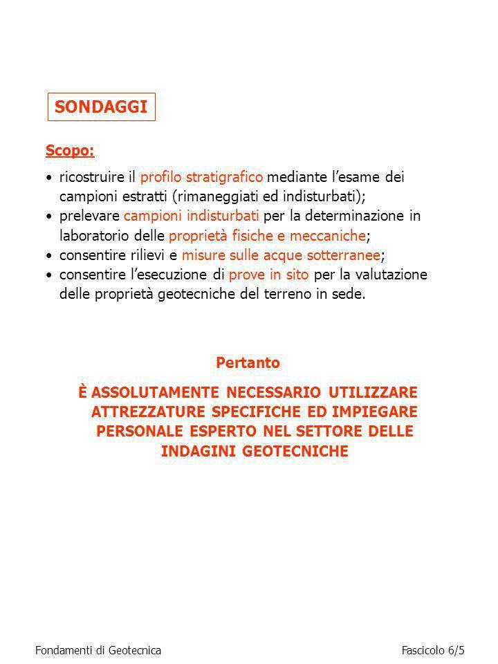 Fondamenti di GeotecnicaFascicolo 6/16 Caratteristiche dei campionatori