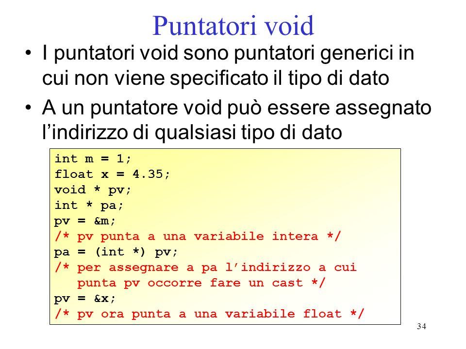 34 Puntatori void I puntatori void sono puntatori generici in cui non viene specificato il tipo di dato A un puntatore void può essere assegnato lindi