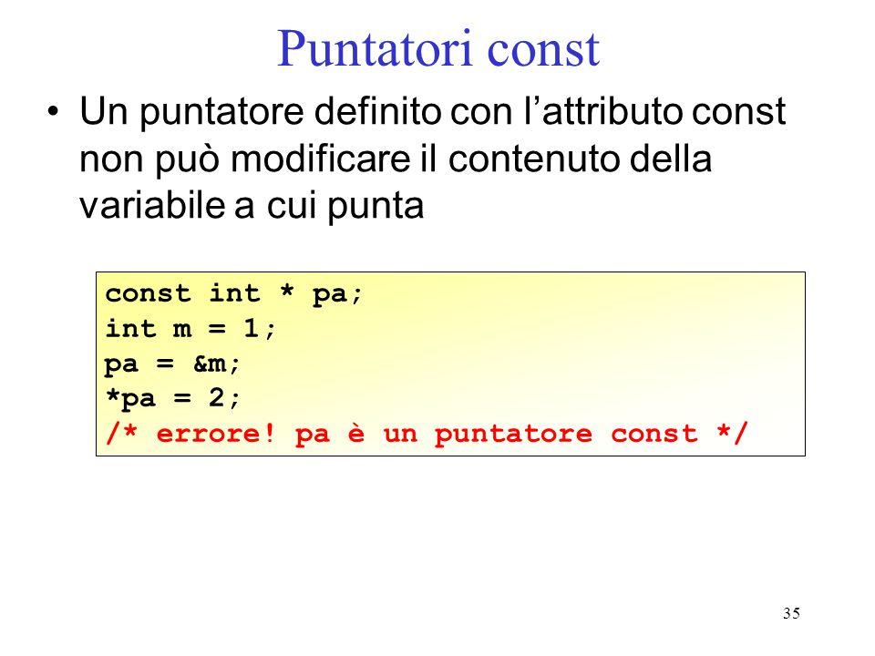 35 Puntatori const Un puntatore definito con lattributo const non può modificare il contenuto della variabile a cui punta const int * pa; int m = 1; p