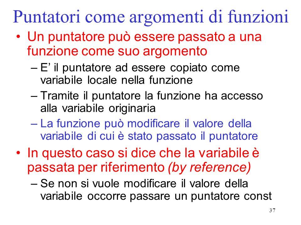 37 Puntatori come argomenti di funzioni Un puntatore può essere passato a una funzione come suo argomento –E il puntatore ad essere copiato come varia